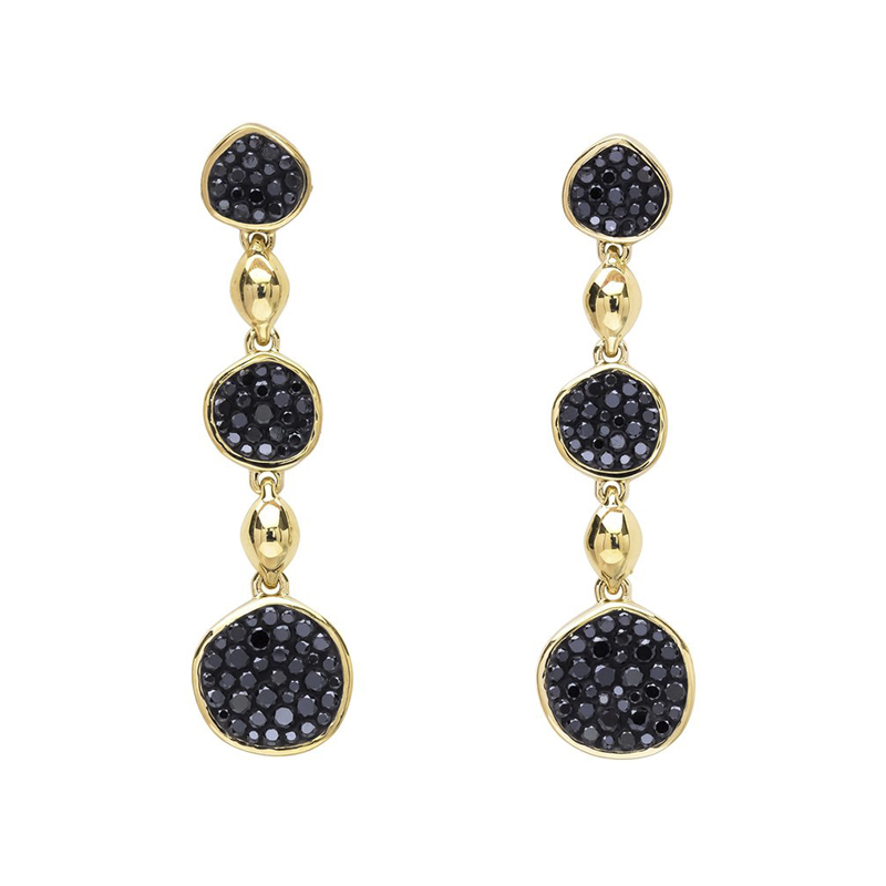 EARRINGS_Pleve Black Diamond Pebble Drop-BKED00172Y
